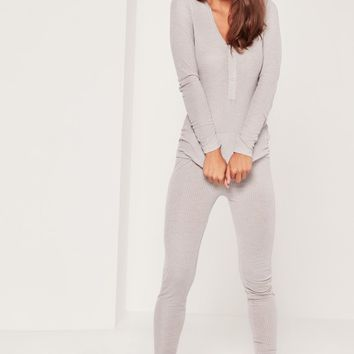 Missguided - Ribbed Top and Legging Pj Set Grey