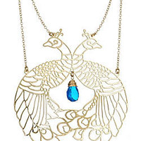 Kris Nations Large Peacock Pendant Necklace - Max and Chloe