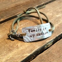 """hand stamped quote bracelet with charm, """"family is my anchor"""", wrap bracelet, faux suede bracelet"""