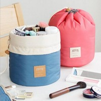 Drawstring Barrel Travel Cosmetic Nylon Wash Bag