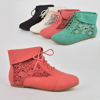 Women's Crochet Lace Up Ankle Bootie Loafer Oxfords Boots Shoes Nature Breeze