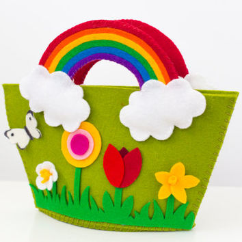 Spring flowers purse handbag with rainbow handles for little (and big) girls in kiwi green.