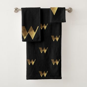 Monogram W Black and Gold Look Elegant Typography Bath Towel Set