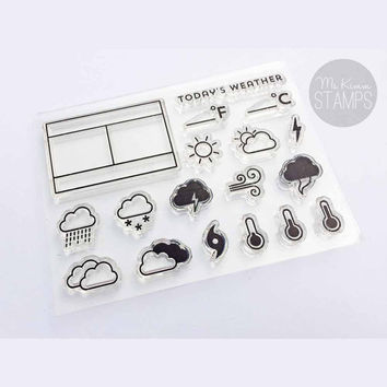 "Ms. Kimm Creates WEATHER ICONS 3""x4"" Photopolymer Stamp Set - Limited Release"