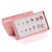 6 Pairs/Box Women/Girls Classic Stud Earrings Set With Gift Box,Colorful Round Gem Earrings Set in Jewelry Accessories