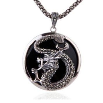 Traditional Chinese Dragon Pendant .925 Silver Antique Jewelry for Men (w/ NECKLACE)