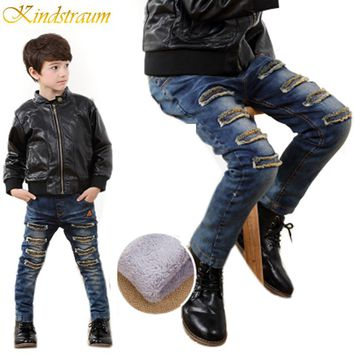 Kindstraum New Kids Winter Patch Jeans 4 Styles Boys Cotton Denim Trousers Child Brand Fashion Thick Fleece Thermal Pants, MC236