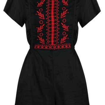 Nyomi Capped Sleeve Embroidered Playsuit