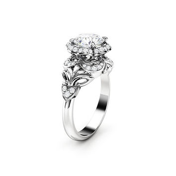 Moissanite Engagement Ring Halo Ring 14K White Gold Ring Halo Engagement Ring