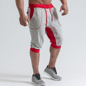 Mens gym cotton shorts Running jogging outdoor sports Cropped Fitness Sweatpants male workout Crossfit clothing short pants