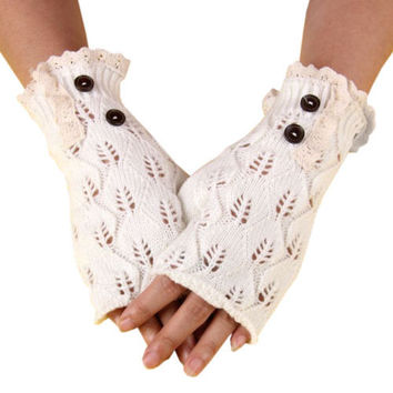 Boho Fingerless Gloves Lace And Button Trim White With Antique Lace Wooden Buttons One Size