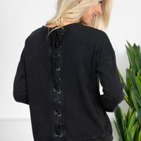 Dear John Eyelet Lace-Up Charcoal Top
