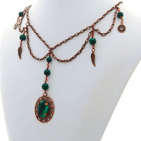 Malachite Antique Copper Victorian Steampunk Designer Choker Necklace