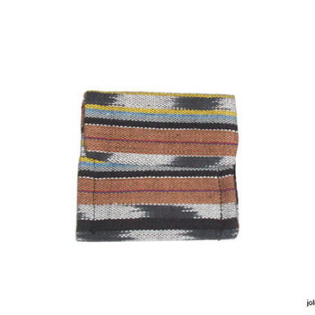 Tan with Blanket Stripe Pattern Guatemalan Fabric Mini Pocket