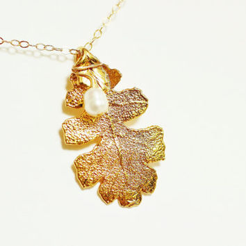 24k Gold plated real oak leaf and pearl necklace