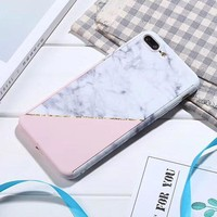 360 Degree Full Body Protection Marble Stone Phone Cases for iphone X 6 6s 7 8 plus Hard PC Cover + Screen Protector Glass Coque