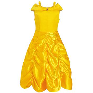 Girls Summer Sleeveless Belle Dresses Princess Costume Party Pleated Dress Beauty and the Beast Yellow Dress Clothes 10 Year Kid