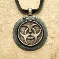 biohazard necklace: mens necklace - punk jewelry - post apocalyptic - mens jewelry - boyfriend gift - industrial jewelry - the artisan group