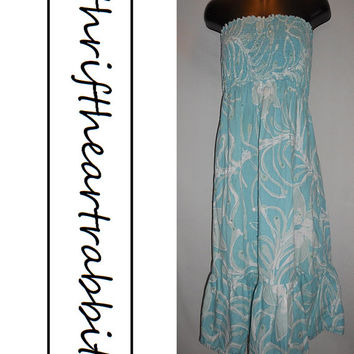 Vintage 90s Old Navy Blue Aqua Floral Dress Kawaii with Sparkle Sequins