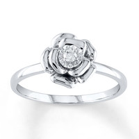 Diamond Flower Ring 1/20 Carat Round-cut Sterling Silver