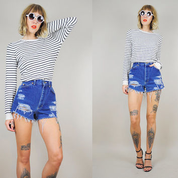 LEE JEANS 80's High Waist cut off Frayed denim SHORTS Holes Destroyed festival tiny fit xs / small