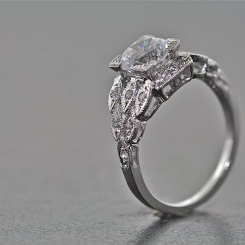 14kt White Gold and Diamond Art Deco Design Engagement Ring