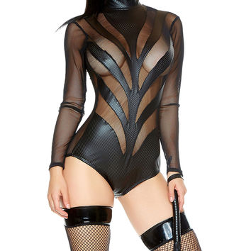 Long Sleeve Mock Neck Bodysuit- Fetish Clothing