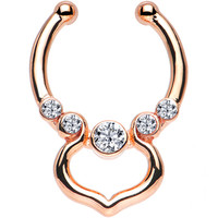 Clear Gem Rose Gold IP Gothic Elegance Non-Pierced Clip On Septum Ring | Body Candy Body Jewelry