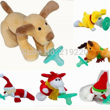 Wubbanub Animal Pacifier Funny Baby Pacifiers Silicone Pacifier Clip New Baby Bottle Pacifier With Plush Toy Soother Christmas