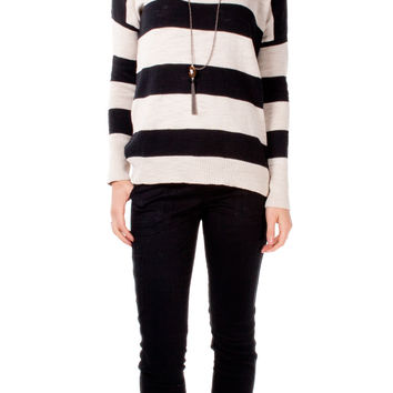 Cotton Slub Stripe Boat Neck Sweater