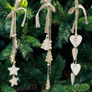 ISHOWTIENDA 1PC 42*5*5cm Christmas Wood Chip Tree Ornaments Xmas Hanging Pendant Decoration Gifts