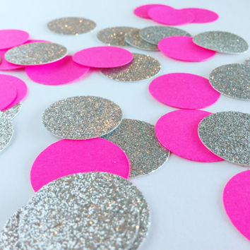 "100 Neon Pink / Silver Glitter - 1 Inch Circle Confetti - 1"" - Confetti for weddings, birthdays, parties and more!"