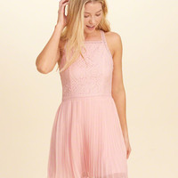 Girls High-Neck Pleated Skater Dress | Girls New Arrivals | HollisterCo.com