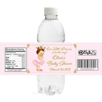 Vintage Princess Baby Shower Water Bottle Labels