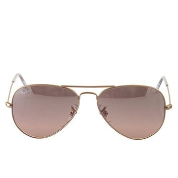 Ray-Ban AVIATOR LARGE METAL - GOLD Frame CRYS.BROWN-PINK SILVER MIRROR Lenses 55