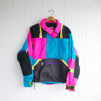 Vintage 80s Neon North Face Ski Jacket - M