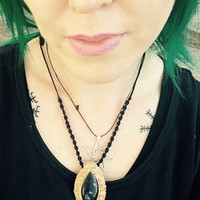 GalaxyStone DARK QUEEN Necklace by Nymph-ish deva faery faeries fae Queen Mab gothic dark black Nymphish Copper
