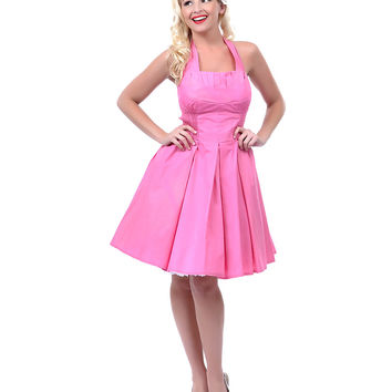 Unique Vintage Short Bubblegum Pink Flirty Cotton Swing Dress