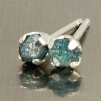 Blue Diamond Round Post Earrings - Raw Rough Diamonds on Silver Studs - 4mm Four Prong Studs - Rare Blue Diamonds, Conflict Free
