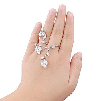 dnswez Adjustable CZ Cubic Zirconia Cluster 2 Finger Ring for Women