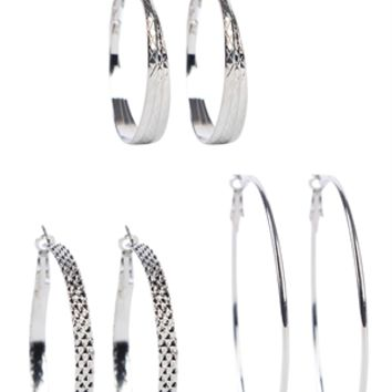 Set of 3 Graduated Hoop Earrings
