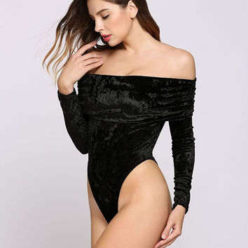 Women Sexy Velvet Slash Neck Bodysuit Off Shoulder Loose Long Sleeve Bodycon Jumpsuits Clubwear Casual Tops