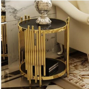 Modern toughened glass small tea table black  side table..