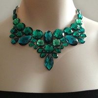 emerald bib necklace - emerald green, teal and regular green rhinestone statement necklaces, wedding, prom,bridesmaids necklace gift or for