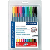 Staedtler Triplus Fineliner 334 Superfine Point Pens, .3mm, Assorted Colors, 10/Pack | Staples