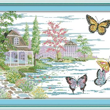 The Butterfly Estate Crafts Sewing Cross Stitch Kits DMC 11CT Printed Embroidery 14CT DIY Handmade Needle Work Wall Home Decor