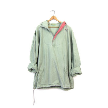 Sage Green Hooded Anorak Jacket Hooded 90s Oversize Cotton Boyfriend Pullover Slouchy Windbreaker Spring Coat Hoodie Mens Large XL