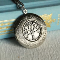 Silver Family Tree Locket Necklace, pendant leaves life photo message nature Mother's Day Birthday Graduation Christmas Gift