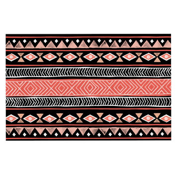 "Skye Zambrana ""Mojave Black"" Black Red Decorative Door Mat"