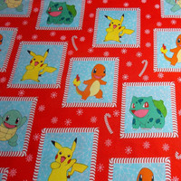 Pokemon Fabric Pokemon Go Pikachu Charmander Fabric Pokemon Christmas Fabric Quilt Backing Craft Fabric Kids Fabric Gamer Fabric